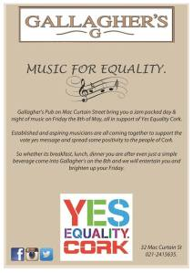 Music for Equality in Gallaghers Pub poster